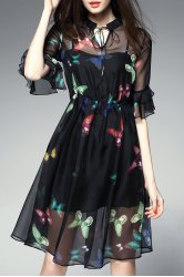 Butterfly Print See Thru Dress with Tank Top -