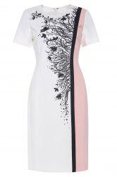 Color Block Embroidered Sheath Dress -