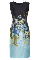 Floral Satin Sleeveless Sheath Dress -