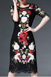 Half Sleeve Floral Embroidery Lace Dress -