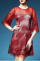 Embroidered Bell Bottom Sleeve Dress -