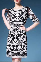 Embroidered High Waist Sheath Dress -