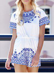 Fashion Round Neck Short Sleeve Great Wall Print Women's Blue and White Porcelain Playsuit -