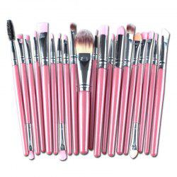 Stylish Multifunction 20 Pcs Plastic Handle Nylon Makeup Brushes Set - PINK