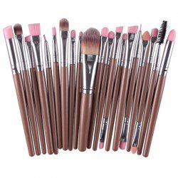 Stylish Multifunction 20 Pcs Plastic Handle Nylon Makeup Brushes Set - COFFEE