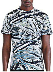 Round Neck Stylish 3D Viaduct Print Short Sleeve T-Shirt For Men