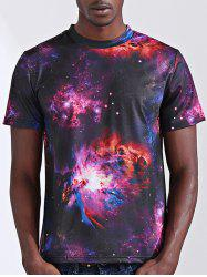 Round Neck Stylish 3D Starry Sky Print Short Sleeve T-Shirt For Men