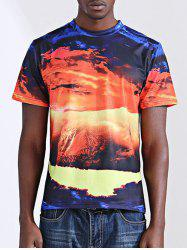 Casual Printing Round Collar Short Sleeves T-Shirt For Men - COLORMIX 2XL