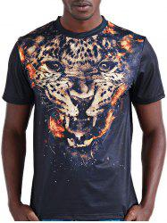 Round Neck Stylish 3D Leopard Print Short Sleeve T-Shirt For Men