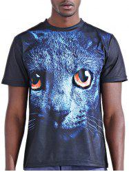 Round Neck Stylish 3D Panther Print Short Sleeve T-Shirt For Men -