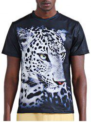 Round Neck Stylish 3D White Leopard Print Short Sleeve T-Shirt For Men -