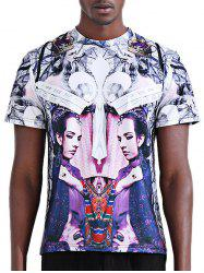 Round Neck Stylish 3D Symmetrical Abstract Figure Print Short Sleeve T-Shirt For Men