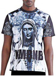 3D Character and Letter Printing Round Neck Short Sleeves T-Shirt For Men - COLORMIX L
