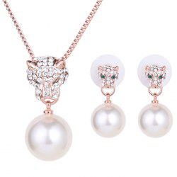 A Suit of Graceful Faux Pearl Leopard Necklace and Earrings For Women