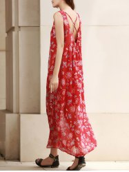 Stylish Round Neck Sleeveless Floral Print Backless Chiffon Women's Dress
