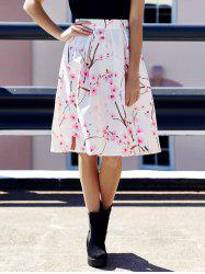 Floral Box Pleated Midi Skirt