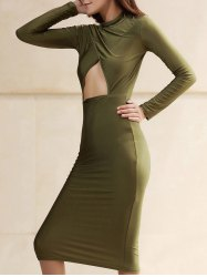 Sexy Turtleneck Long Sleeve Hollow Out Solid Color Bodycon Women's Dress