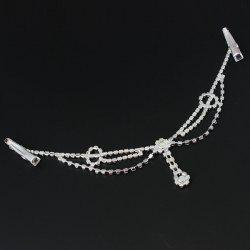 Delicate Rhinestone Multi-Layered Round Forehead Chain For Women - SILVER