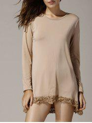 Stylish Round Neck Long Sleeve Asymmetrical Hollow Out Women's T-Shirt - KHAKI S
