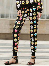 Fashionable Emoji Print Drawstring Pants For Women