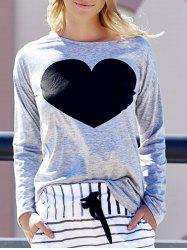 Women's Heart Pattern T-Shirt Long Sleeve Crew Neck Tops - LIGHT GRAY M