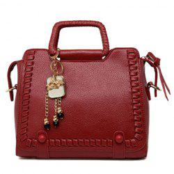 Retro Solid Color and Weaving Design Tote Bag For Women -