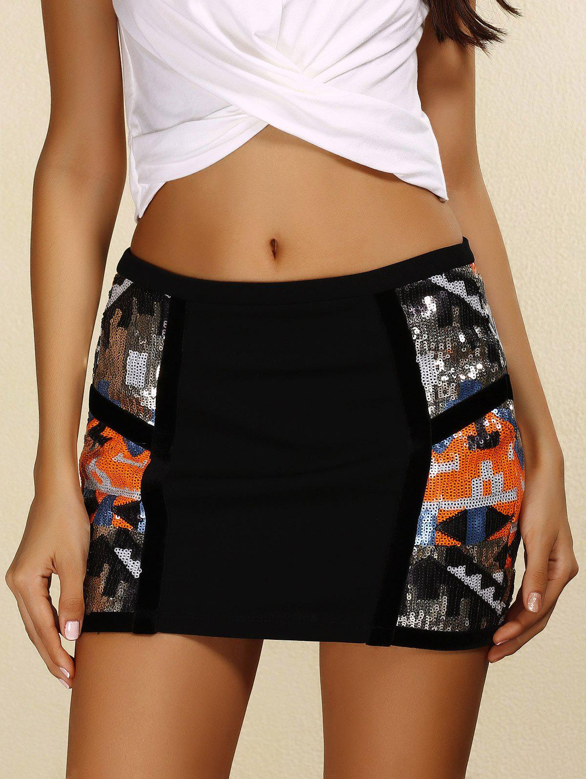Chic Sequins Tight Mini Skirt