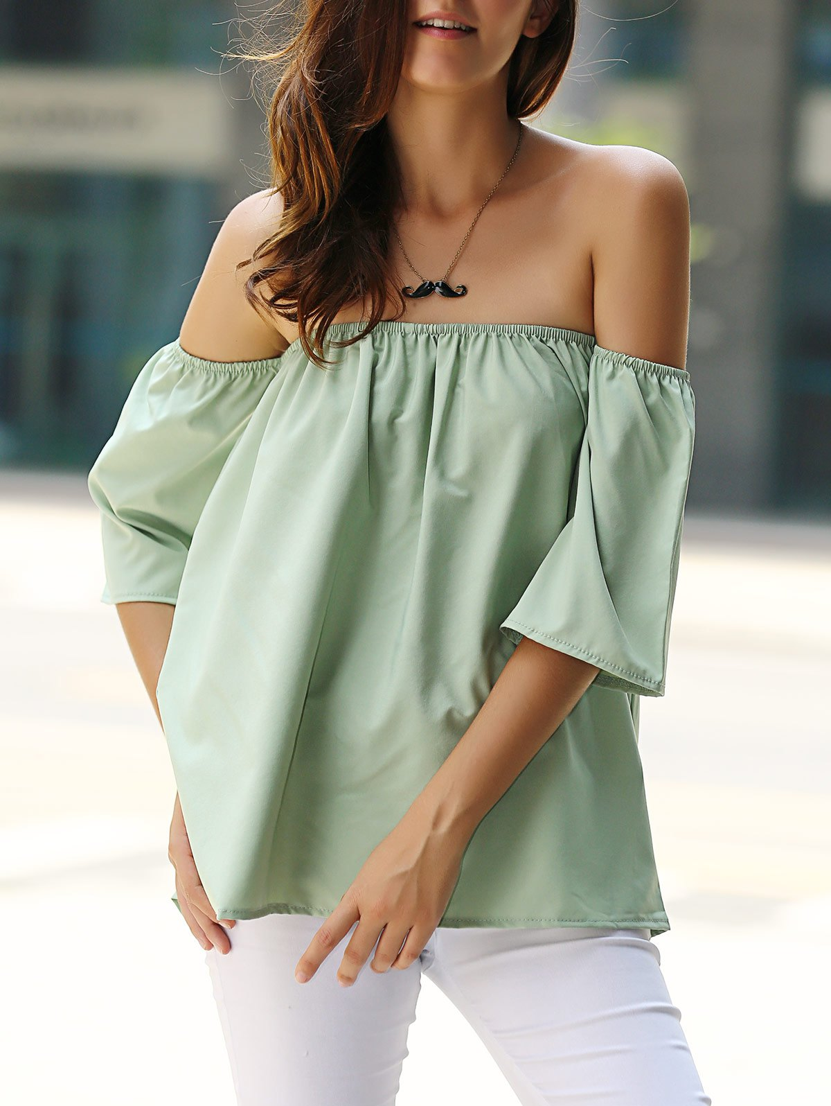 Store Stylish Off-The-Shoulder Half Sleeves Solid Color Blouse For Women