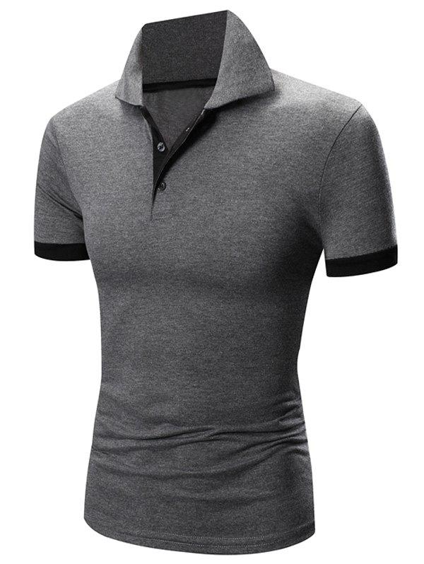 Sale Laconic Turn-down Collar Color Block Short Sleeves Polo T-Shirt For Men