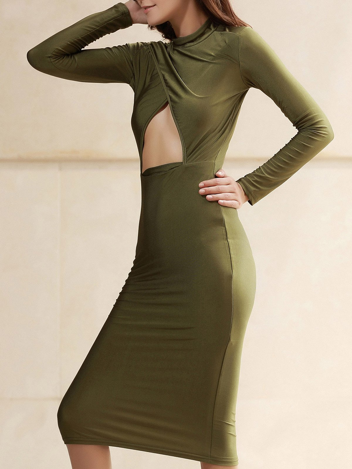 Latest Turtleneck Cut Out Long Sleeve Club Dress