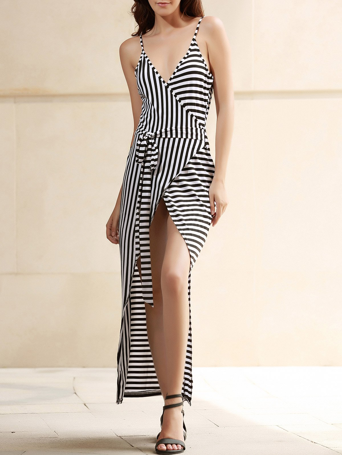 Cheap Sexy Plunging Neck Striped Open Back Sleeveless Dress For Women