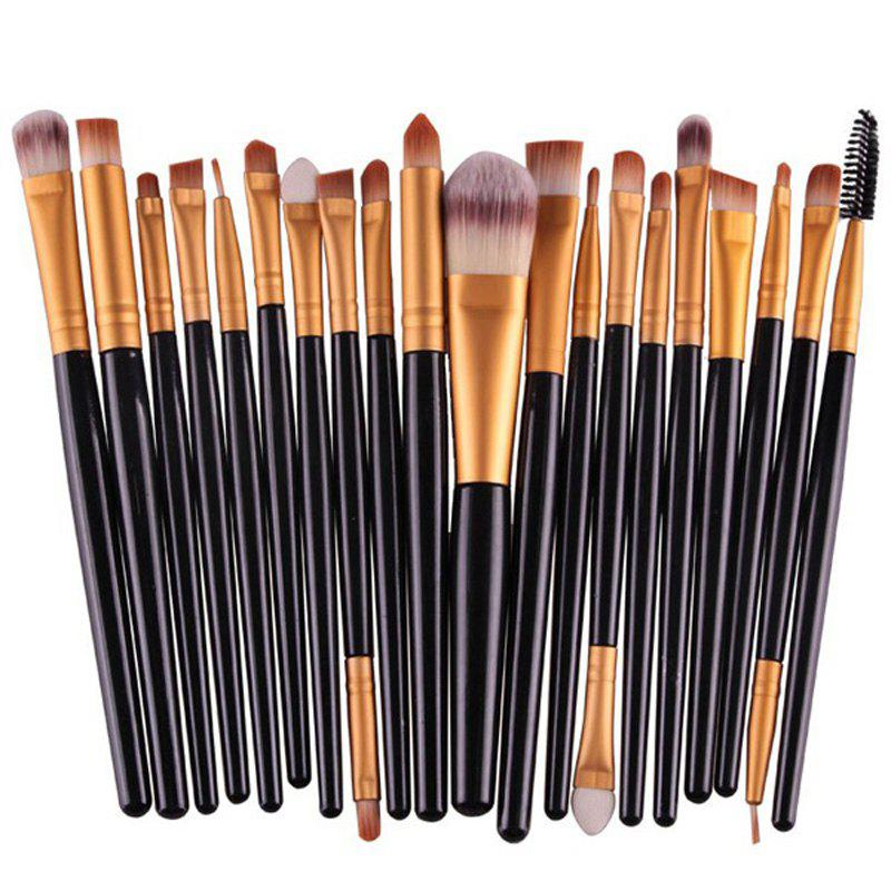 Stylish 20 Pcs Plastic Handle Nylon Makeup Brushes SetBEAUTY<br><br>Color: BLACK; Category: Makeup Brushes Set; Brush Hair Material: Nylon; Features: Hypoallergentic; Season: Fall,Spring,Summer,Winter; Weight: 0.150kg; Package Contents: 20 x Makeup Brushes (Pcs);
