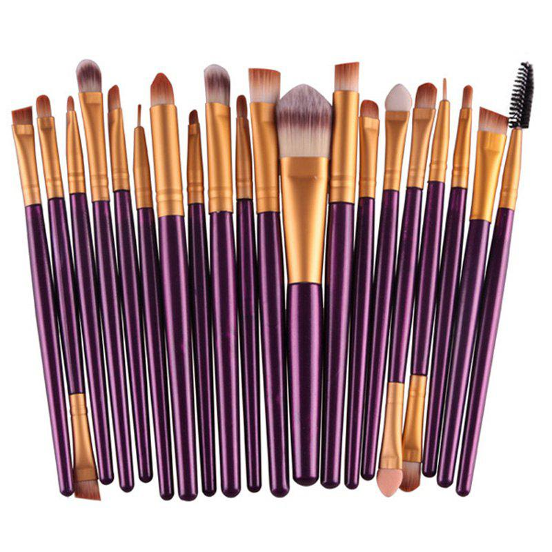 Stylish 20 Pcs Plastic Handle Nylon Makeup Brushes SetBEAUTY<br><br>Color: PURPLE; Category: Makeup Brushes Set; Brush Hair Material: Nylon; Features: Hypoallergentic; Season: Fall,Spring,Summer,Winter; Weight: 0.150kg; Package Contents: 20 x Makeup Brushes (Pcs);