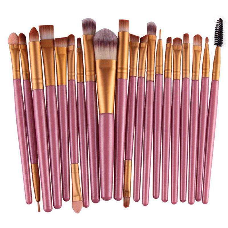 Stylish 20 Pcs Plastic Handle Nylon Makeup Brushes SetBEAUTY<br><br>Color: PINK; Category: Makeup Brushes Set; Brush Hair Material: Nylon; Features: Hypoallergentic; Season: Fall,Spring,Summer,Winter; Weight: 0.150kg; Package Contents: 20 x Makeup Brushes (Pcs);