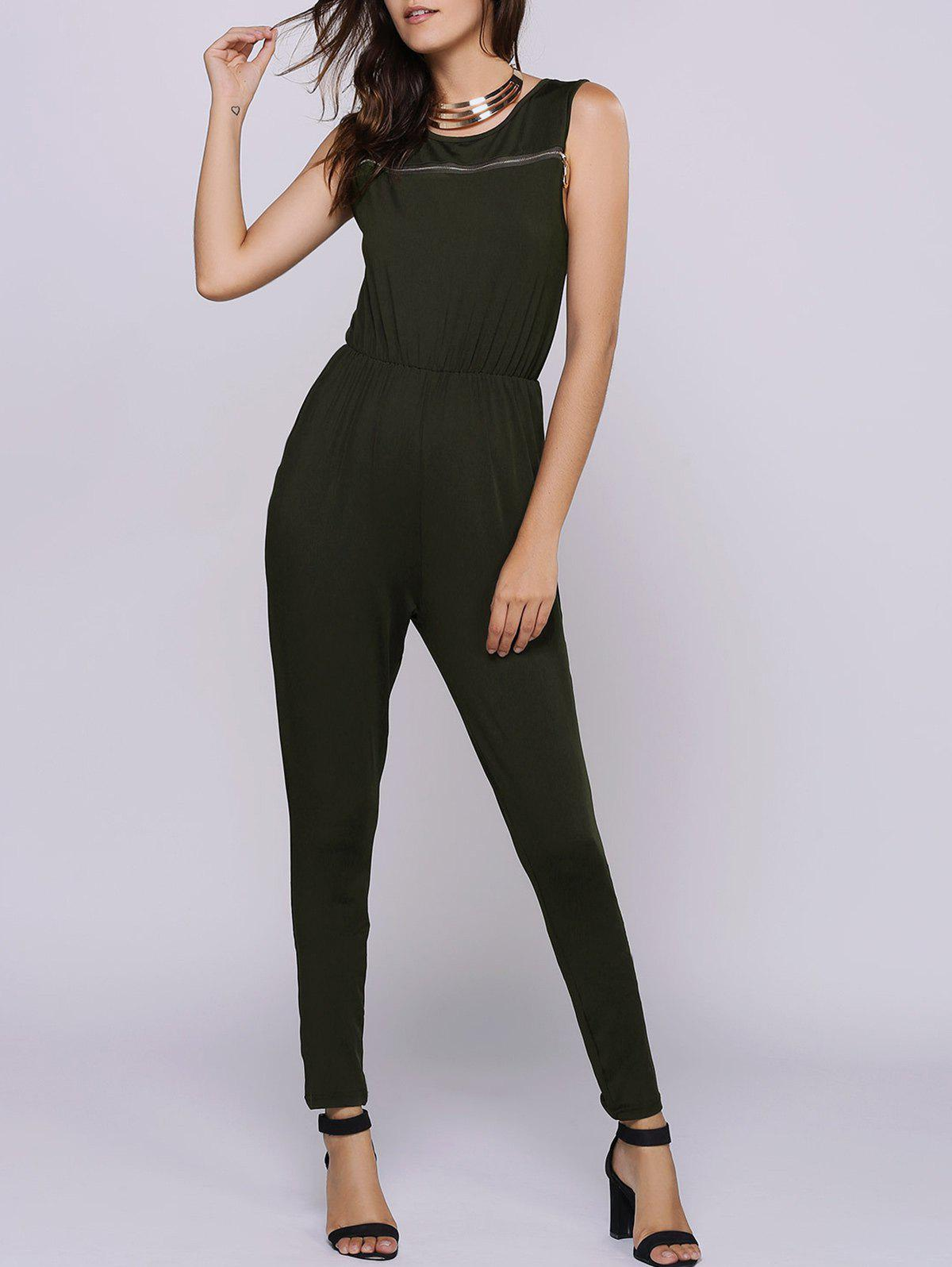 2018 Casual Jewel Collar Sleeveless Zipper Embellished Jumpsuit For