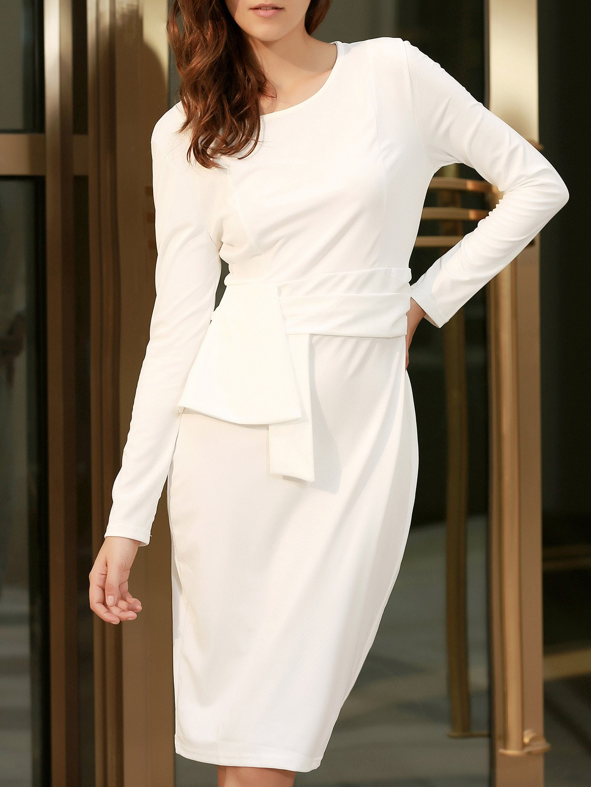 Cheap Chic Round Collar Long Sleeve Pure Color Bodycon Women's Dress