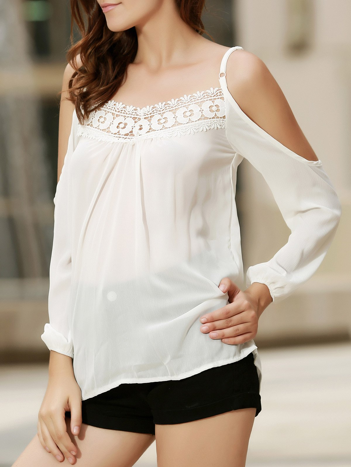Cheap Sexy Strappy Hollow Out Lace Splicing  Long Sleeve Blouse For Women
