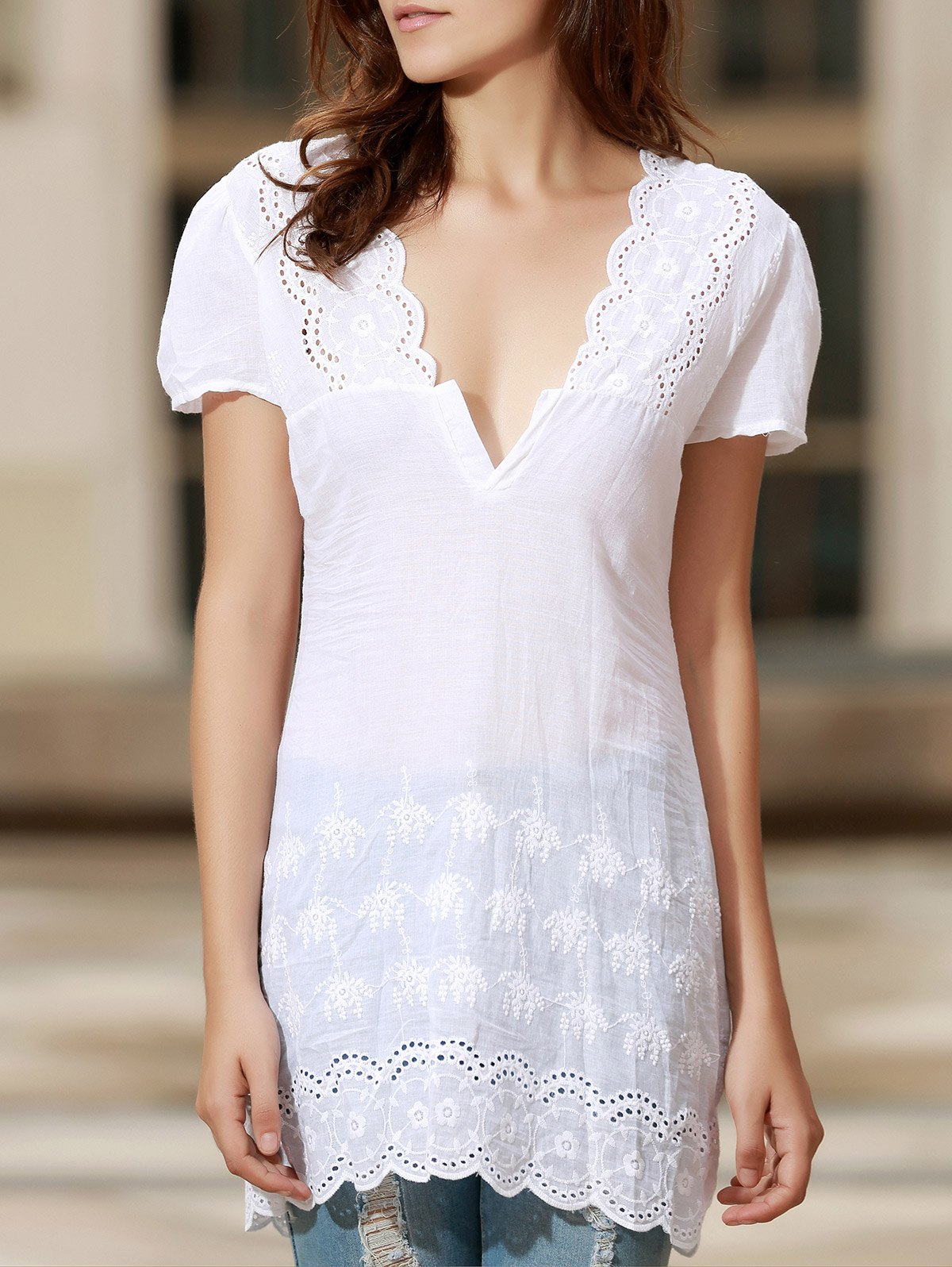 Shops Sexy Plunging Neck Short Sleeve Laciness Solid Color Women's Dress