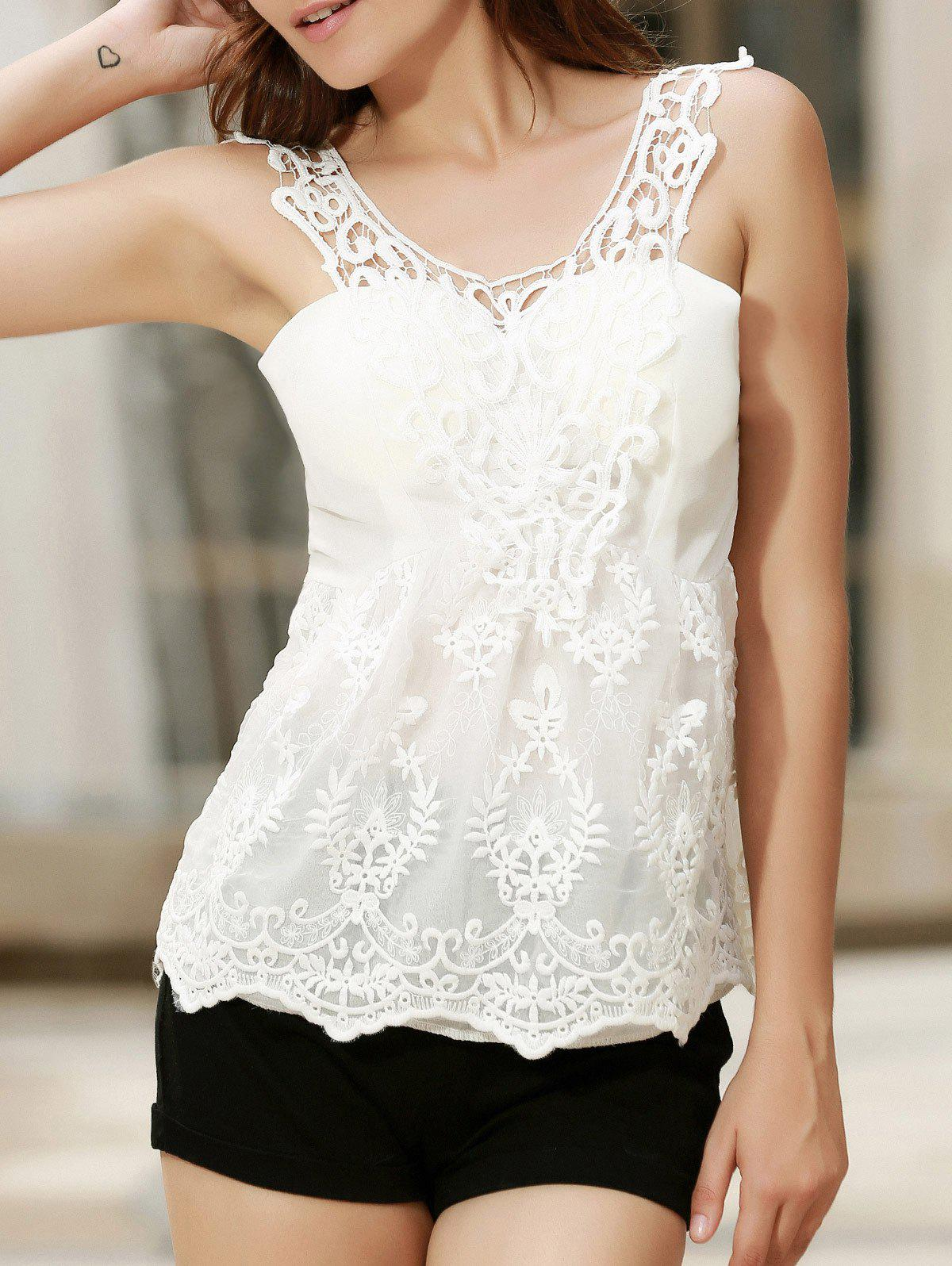 V Neck Embroidered Lace Tank Top фото