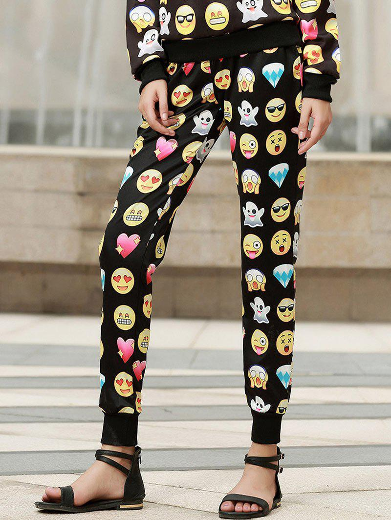 Trendy Fashionable Emoji Print Drawstring Pants For Women