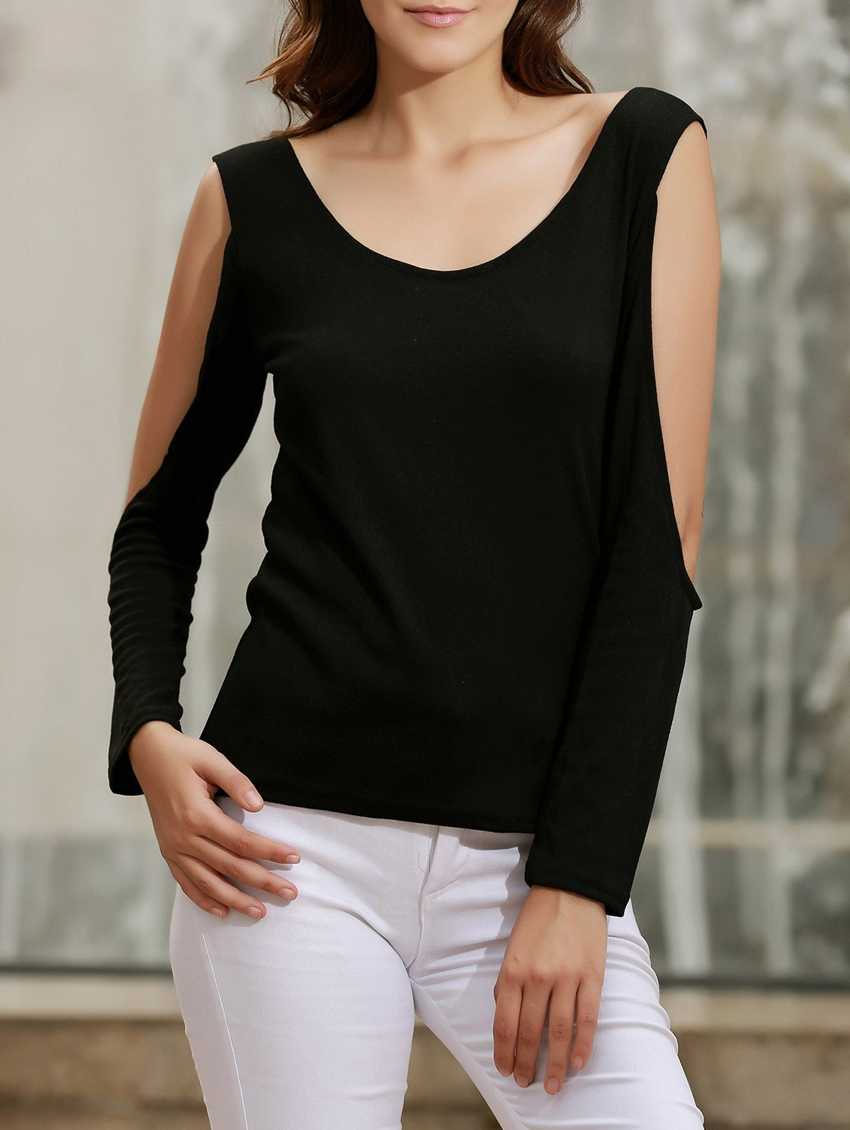 Fancy Criss-Cross Long Sleeve Open Back T-Shirt