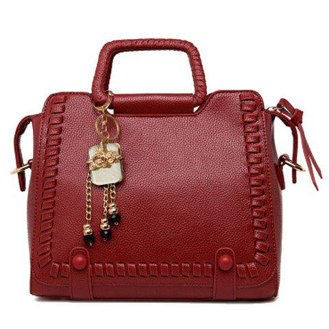 Shop Retro Solid Color and Weaving Design Tote Bag For Women