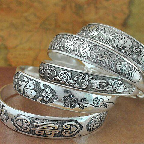Flower Vine Carving Design Alloy Bracelet