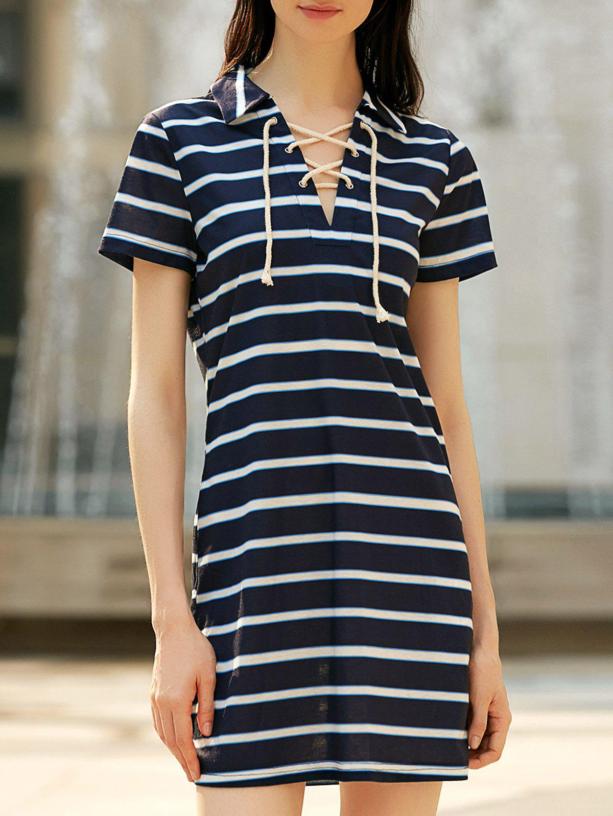 Buy Lace-up Striped Casual T-shirt Dress