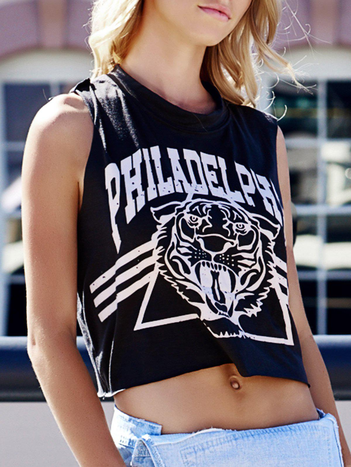Buy Tiger Letter Print Cotton Cropped Tank Top