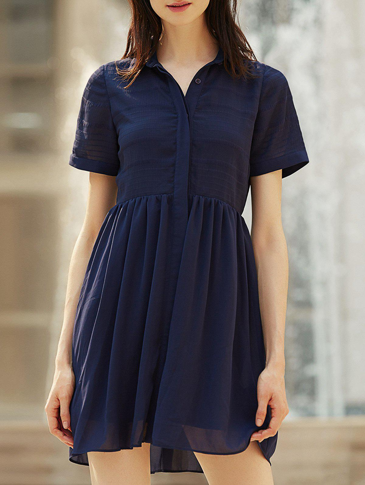 Shops Stylish Turn-Down Collar Short Sleeve Chiffon Shirt Dress For Women