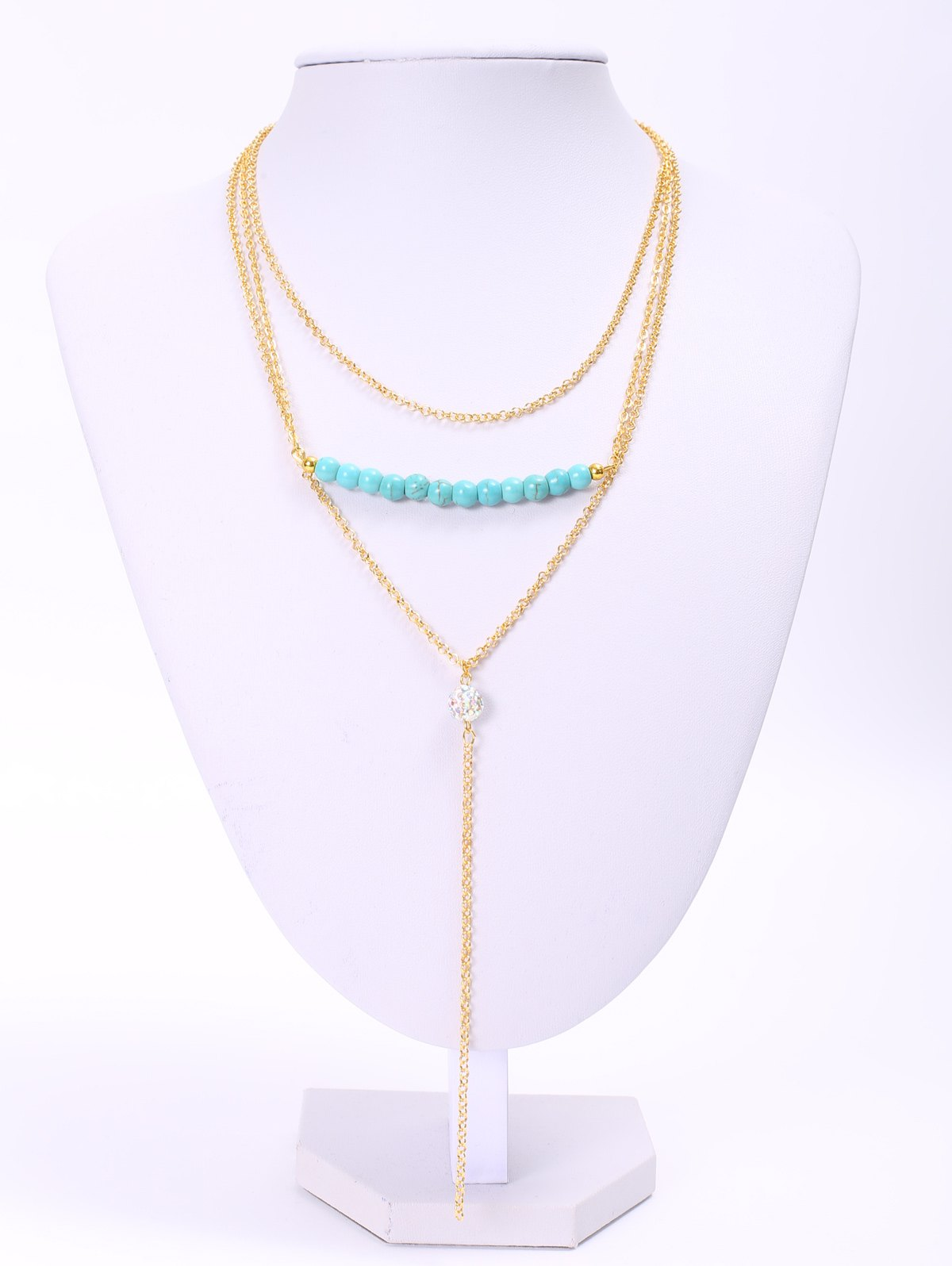 Delicate Turquoise Layered Tassel Necklace For WomenJEWELRY<br><br>Color: GOLDEN; Item Type: Pendant Necklace; Gender: For Women; Style: Classic; Shape/Pattern: Others; Length: 40CM-45CM; Weight: 0.090kg; Package Contents: 1 x Necklace;