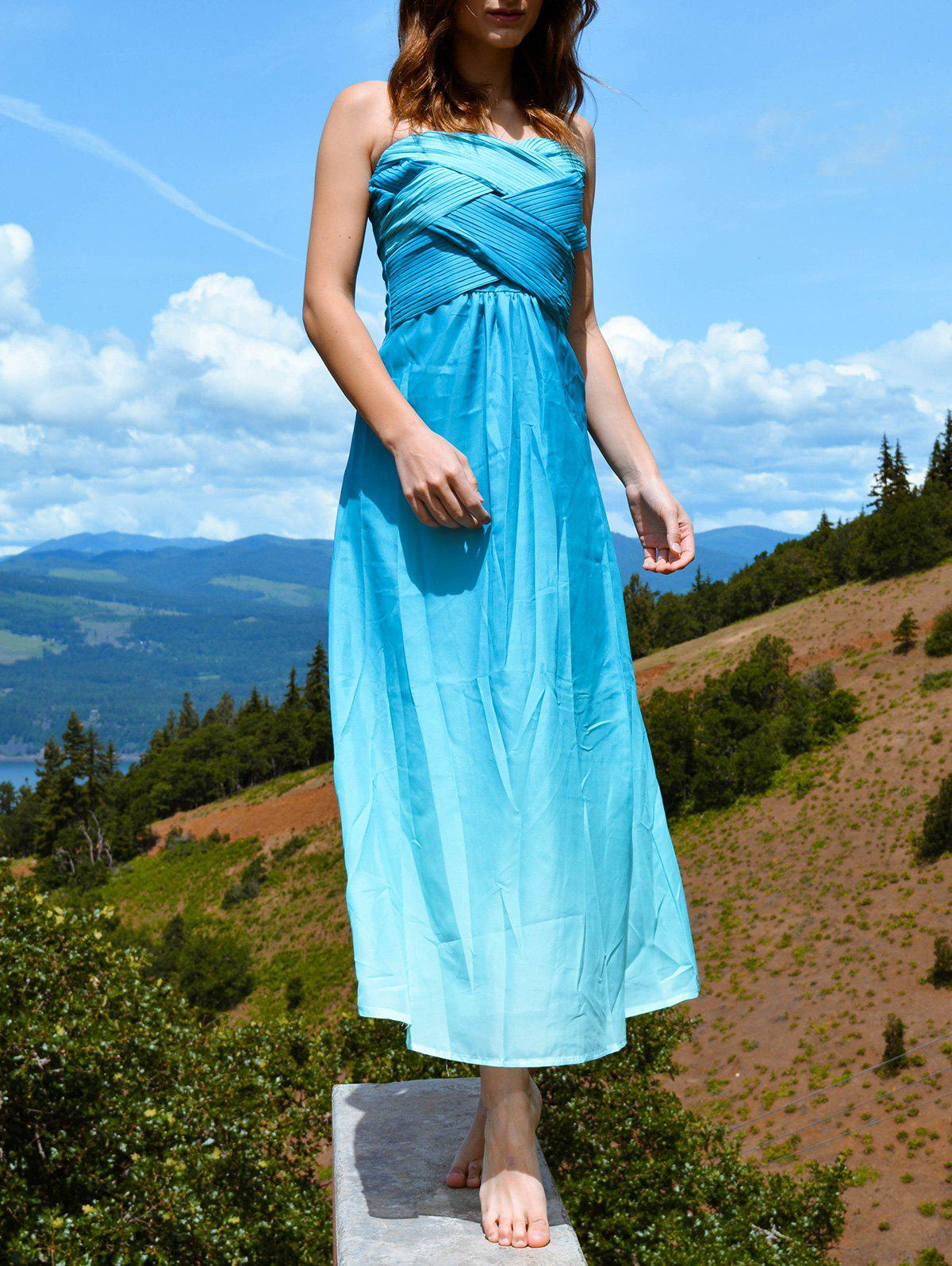 Buy Strapless Bandeau Ombre Bandage Maxi Holiday Dress