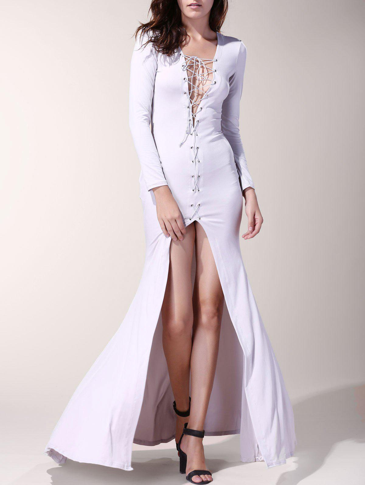 Latest Sexy Long Sleeve Lace-Up Hollow Out High Slit Women's Dress