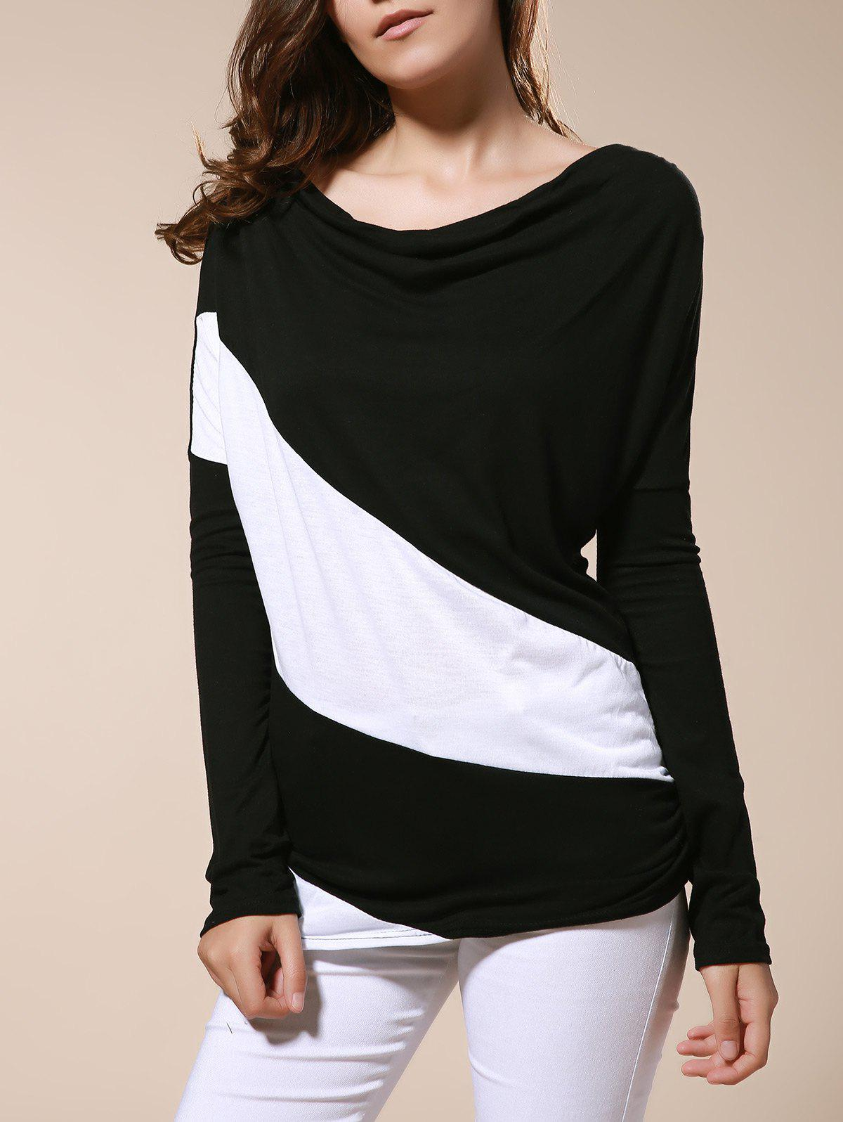 Sale Color Matching Batwing Sleeve Cowl Neck Women's T-Shirt